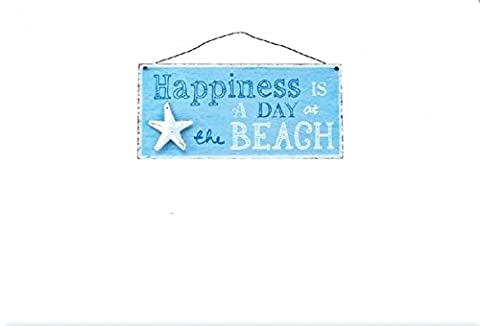 Happiness is a day at the beach Metal hanging plaque Sign