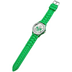 TOOGOO(R) Women's Crystals Rubber Silicone Gel Jelly Watch Dark Green