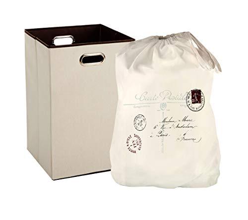 SeasonsEasy Wäschesammler mit Griffen und dekorativem strapazierfähigem Wäschesack mit Kordelzug -