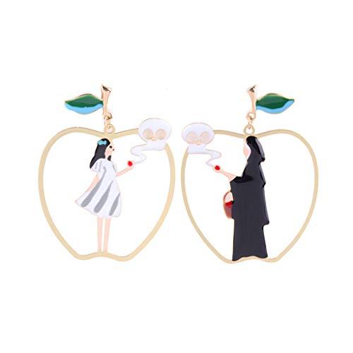ZIJUAN Ohrringe 925 Silber Nadel Asymmetrische Schneewittchen Hexe Ohrringe Frau Hypoallergenic Ear Hanging Jewelry (Schneewittchen Aus Hexe)