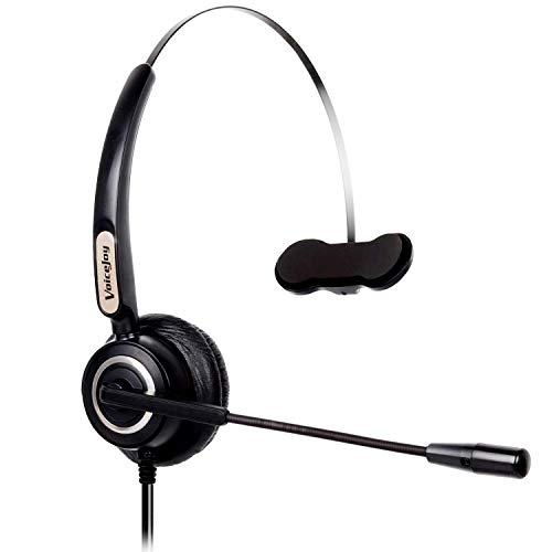 Call Center Monaural Headset mit Mikrofon mit Geräuschunterdrückung für Polycom Aastra Allworx Alcatel Lucent AltiGen Comdial Digium Mitel Nortel Norstar Meridian Avaya Festnetz-Tischtelefone -