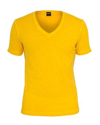 Urban Classics TB478 Spray Dye V-Neck Tee T-shirt Collo V Manica Corta (Yellow, L)