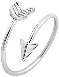 Good Designs UK anillo para mujer con forma de flecha, anillo totalmente ajustable para mujer en oro, plata u oro rosado, plata, talla única