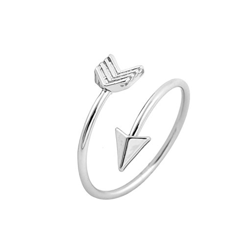 Foto de Good Designs UK anillo para mujer con forma de flecha, anillo totalmente ajustable para mujer en oro, plata u oro rosado, plata, talla única