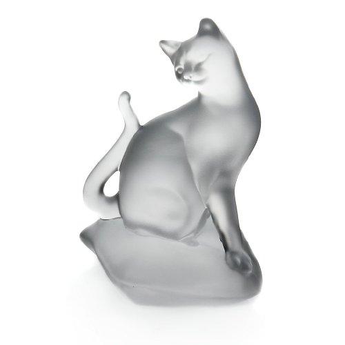 CRISTALICA Glas Figur Tier, Statue für Vitrine KATZE AUF KISSEN matt/satiniert, Bleikristall, moderner Style (GERMAN CRYSTAL powered by