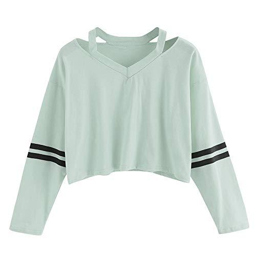 VEMOW Damen Bluse, Frauen Mode Streifen Langarm V-Neck Sweatshirt Causal Tops(X1-a-a-Grün, 34/S)