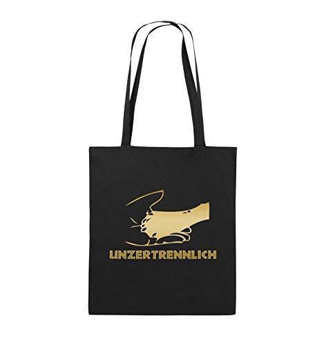 Comedy Bags - UNZERTRENNLICH - HAND PFOTE Hundeliebe - Jutebeutel - lange Henkel - 38x42cm - Farbe: Schwarz / Pink Schwarz / Gold