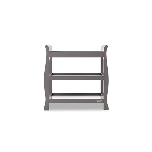Obaby Stamford Open Changing Unit - Taupe Grey Obaby Two large open shelf spaces for plenty of storage Top of the unit is the perfect size for accommodating a changing mat Carefully considered table top perfect for the use of a changing mat 2