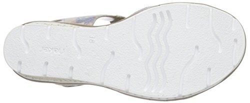 Rieker 68569 Women Open Toe, Sandales ouvertes à talon compensé femme Multicolore - Mehrfarbig (blau-multi / 90)