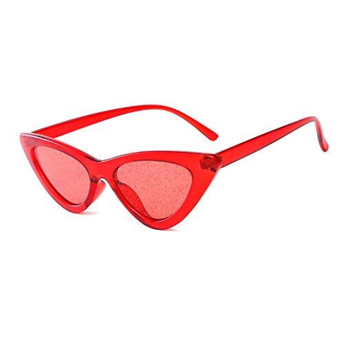 VENMO Mode Herren Retro kleine ovale Sonnenbrille für Damen Metallrahmen Shades Brillen Katzenauge Metall Rand Rahmen Damen Frau Mode Sonnebrille Gespiegelte Linse Women Sunglasses (L-rot)
