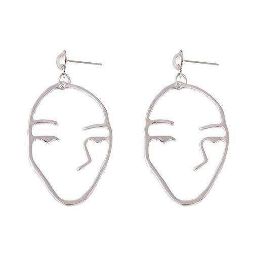 Andouy 1 Paar Retro Kunst Abstrakt Ausschnitt Gesicht Baumeln Ohrringe Lady Hollow Schmuck(Silber)
