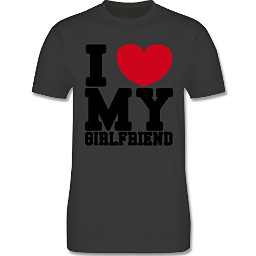 Valentinstag - I love my Girlfriend College Schrift - Herren Premium T-Shirt Dunkelgrau