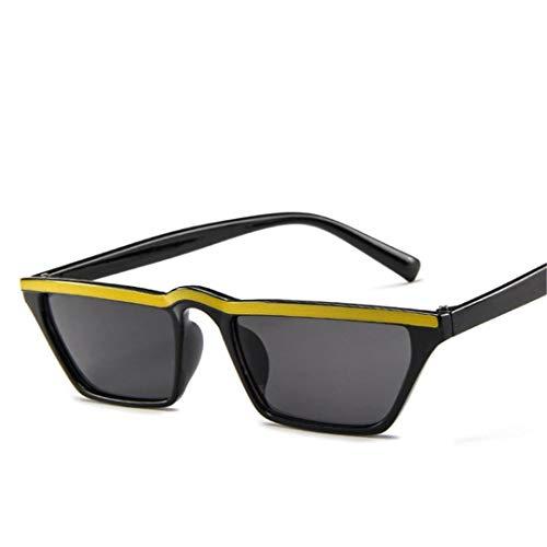 DAIYSNAFDN Vintage Small Frame Sonnenbrillen Frauen/Männer Reisen Sonnenbrille Fahren Black Yellow