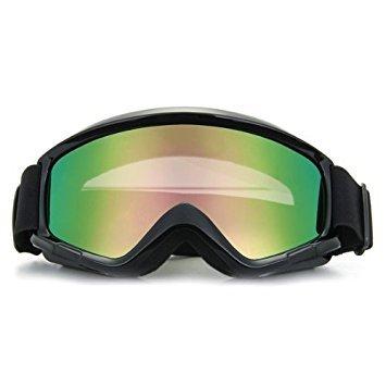 SODIAL(R) 1x Crossbrille Schutzbrille Motocrossbrille Skibrille Reflektierenlicht Schwarz