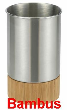 Design Becher aus Bambus und Edelstahl, Zahnputzbecher, Trinkbecher + Unterschale (LHS)