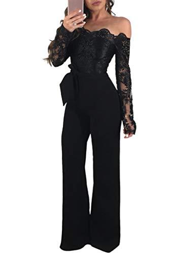 Donna Jumpsuit Pantaloni Lunghi Vintage Pizzo Playsuit Tuta Eleganti Spalla  off Lunghi Manica Tute da Cerimonia Festa Cocktail con Cintura (Nero 7b88dc7afb7