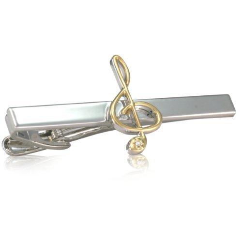 Krawattenklammer LINDENMANN, Notenschlüssel, krawattenschonende hochwertige Alligator-Mechanik, Rhodium veredelt (bicolor), im schwarzen Geschenketui