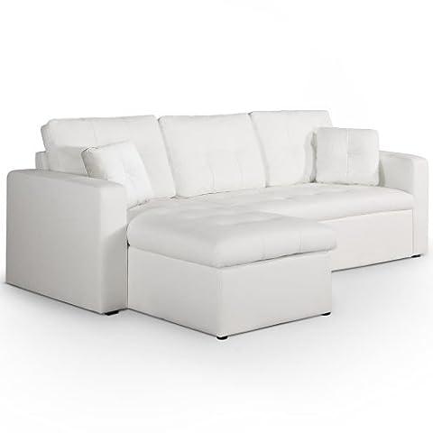 Menzzo XC8242 Contemporain Toledo Canapé d'Angle Convertible Bois Blanc 230 x 143 x 68 cm