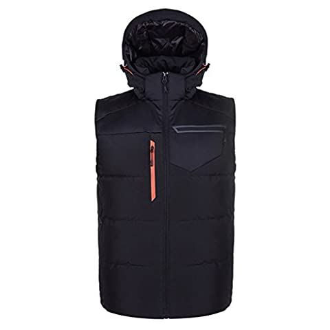 emansmoer Men's Windproof Hoodie Puffer Ultra Light Duck Down Vest Bodywarmer Sleeveless Jacket Water Resistant Outdoor Gilet (Small,
