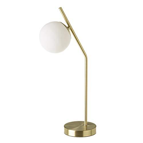 Lámpara de mesa con tulipa de bola vintage de metal y cristal ...