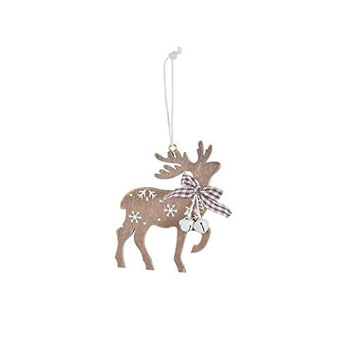 6pc Wooden Reindeer Christmas Tree Decorations Jingle Bells Ornaments Xmas