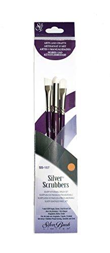 Silver Brush Limited argento Scrubber-Set di pennelli sintetici, angolo rigido, cupola e ovale, in acrilico,, 2 pezzi