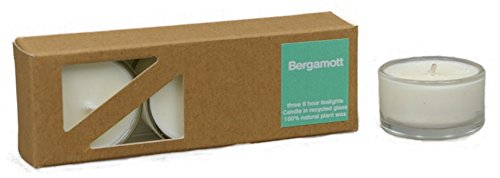 3x Beduftete Natural Bergamott Plant Wax Tealights in recycled glass covers Pleasant...