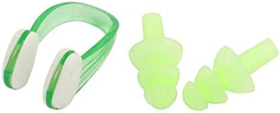 Natación Protector Clip Nasal Tapones Para Los Oídos w Estuche De Almacenamiento Claro Verde