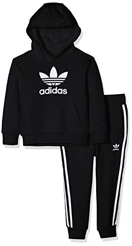 adidas Kinder Trefoil Hoodie-Set, Black/White, 110 (Adidas Kinder)
