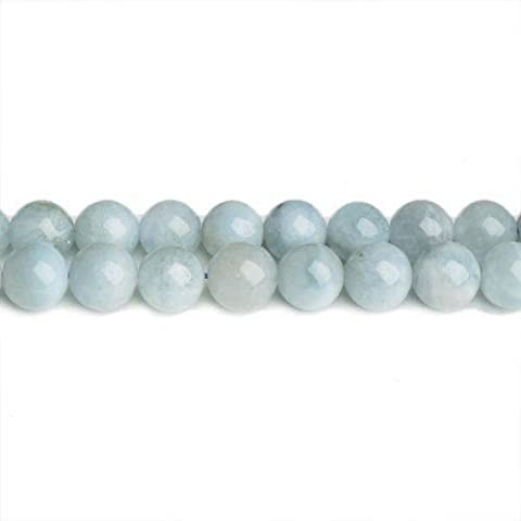 Packet Of 20 x Pale Blue Aquamarine 6mm Plain Round Beads - (CB32187-2) - Charming Beads