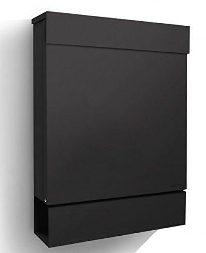 Letterman M Radius Design-Briefkasten mit Zeitungsfach schwarz, moderner Postkasten mit Zeitungsrolle und Einwurf oben
