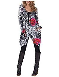 Aller Simplement - T-shirt long asymétrique en coton à manches longues 2 poches col rond avec liens Aller Simplement TS5304