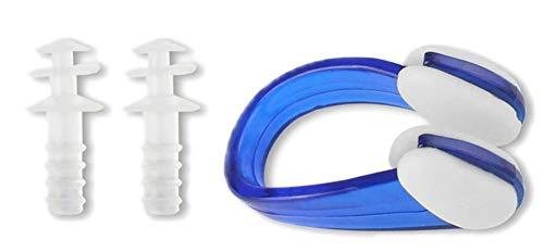 EROSPA® PVC Silikon Nasenklemme + Ohrstöpsel - Schwimmen Tauchen Schnorcheln Erwachsene - 1 Paar Inclusive Aufbewahrungsbox