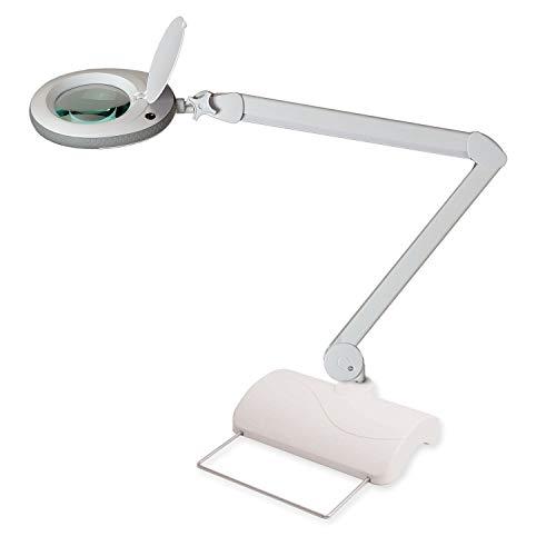 Lumeno 721XGR Lupenleuchte mit LEDs, Arbeitsplatzlampe, Kosmetiklampe in grau mit Tischstativ ideal...
