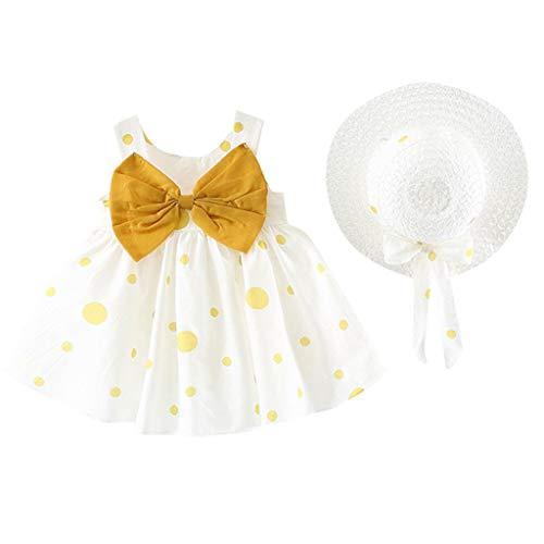 REALIKE Kinder Baby Mädchen Ärmellos Kurze Kleid+1PC Hut Mode O-Ausschnitt Polka-Punkt Bogen MiniKleid Hoher Taille Prinzessin Sommerkleid Urlaub Outfit Kleidung Schön Kleinkind
