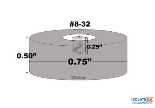 Sorbothane femelle vibrations Bumper Contour-#8-32-1/2
