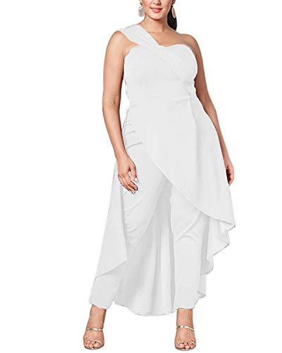ABYOXI Damen One Shoulder Jumpsuit Lange Sommer Overall Kleider Hohe Taille Hosenanzug Romper S-2XL Weiß XXL