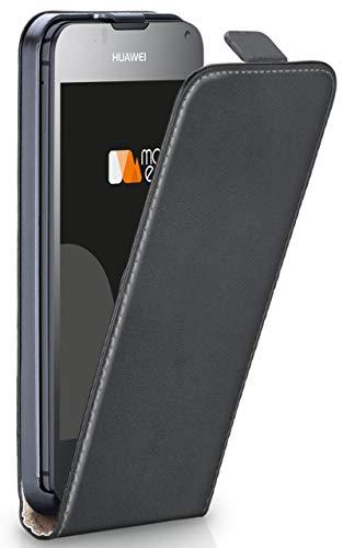 moex® Flip Case mit Magnetverschluss [R&um-Schutz] passend für Huawei Ascend Y300 | 360° Handycover aus feinem Premium Kunst-Leder, Dunkel-Grau