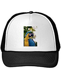 Funny Yellow Blue Macaw Parrot Trucker Hat (Fun Parrot Hat)