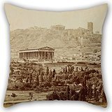 Uloveme Oil Painting Moraites Petros - View Of The Theseion With The Acropolis In The Distance Pillow Cases 16 X 16 Inches / 40 By 40 Cm Gift Or Decor For