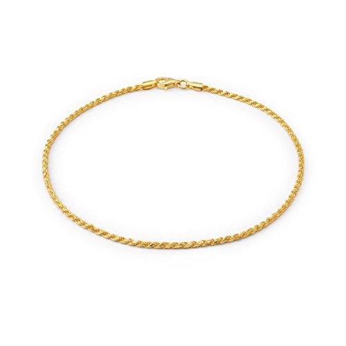 Bling Jewelry Einfach Normales Seil-Kette Fußkettchen Charm Armband Für Damen 14K Vergoldet Sterling Silber 925 50 Gauge Italien