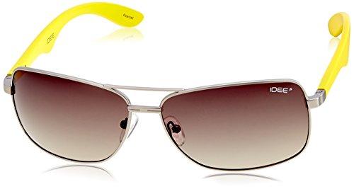 IDEE Square Sunglasses (IDS1882C3PSG|100 Matt Silver and Yellow ) image
