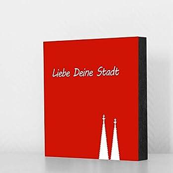 Köln Bild – Domspitzen klein rot Liebe Deine Stadt, 10x10cm, MDF, Geschenk, Deko, Köln, Kölngeschenk, Cologne, Holz…