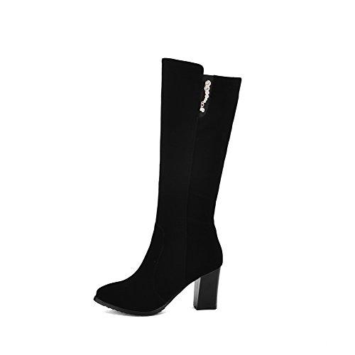 VogueZone009 Damen Rein Spitz Zehe Reißverschluss Stiefel mit Beschlagene Strass, Blau, 38