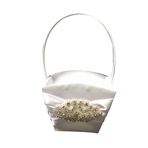 KEYkey Hochzeit Blumenkorb Glamorous Jeweled Rhinestone-Blumen-Mädchen-Korb mit elegantem Aussehen und Elfenbein-Farben-Hochzeitszubehör 1PC