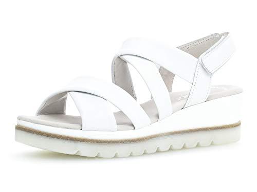 Gabor 23.644 Damen Sandalen,Keilsandalen, Frauen,Keilabsatz-Sandaletten,Keilsandaletten,Sommerschuh,flach,Best Fitting,Weiss,6.5 UK