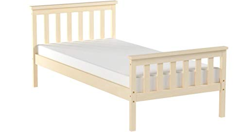 mecor 3FT Single Bed Solid Pine Wooden Frame with Footboard | Perfect for Kids and Adults | Fits 90 x 190cm Mattress
