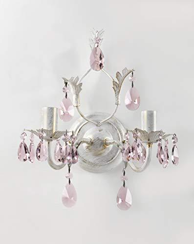 Onli kate lampada da parete in metallo, avorio/rosa, metallo;cristallo