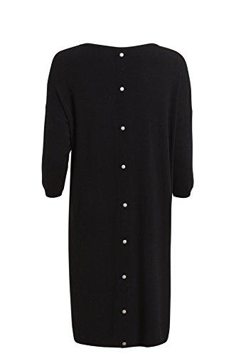 Object Damen Oversize Strick Kleid mit V-Ausschnitt Nieten am Rücken und 3/4 Ärmeln VoKuHiLa (40, schwarz)