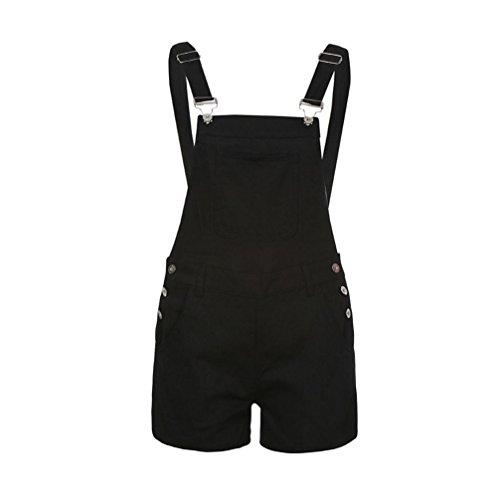 QinMM Petos de Pantalones Cortos Vaqueros Casual Playa Fiesta Noche Cóctel para Mujer Mono (XL, Negro)